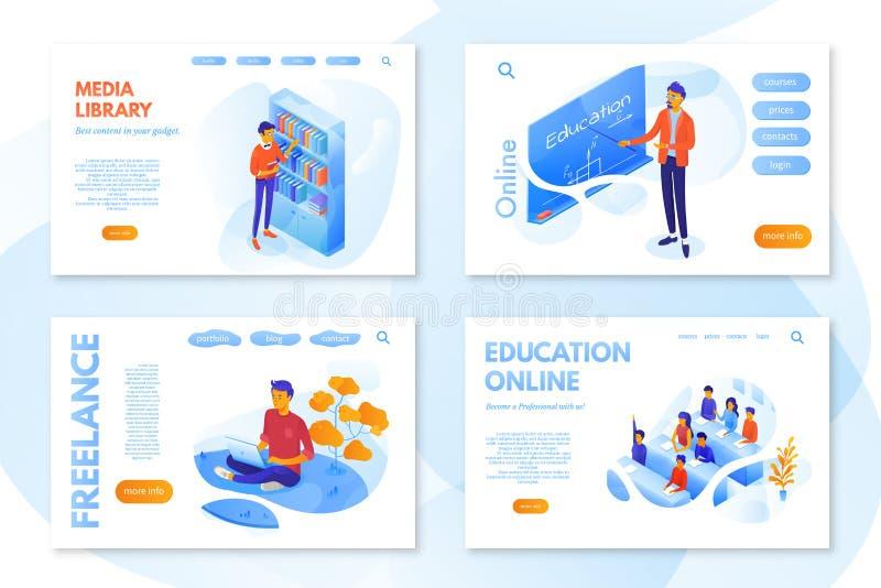 Vectorsjabloonset voor webpagina's voor online-onderwijs stock illustratie