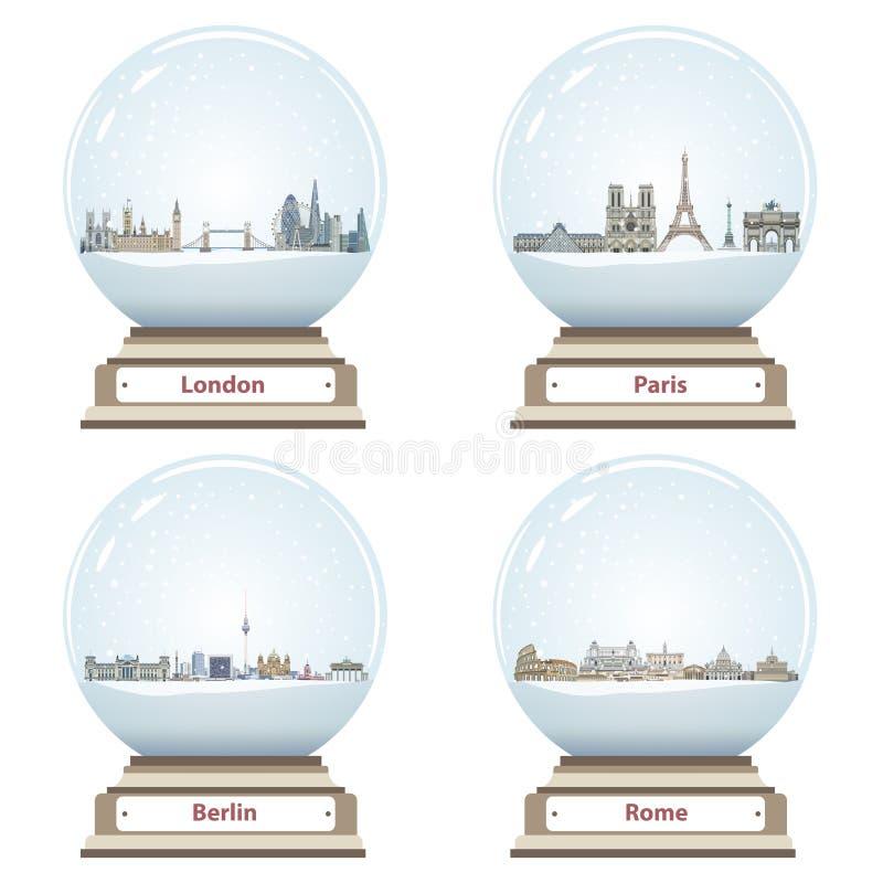 Vectorsneeuwbollen met binnen van Londen, van Parijs, van Berlijn en van Rome abstracte de stadshorizonnen vector illustratie