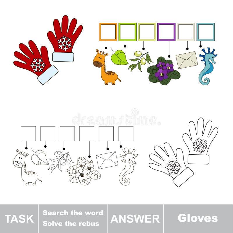 Vectorspel Het woord zoek Vind verborgen woordhandschoenen stock illustratie