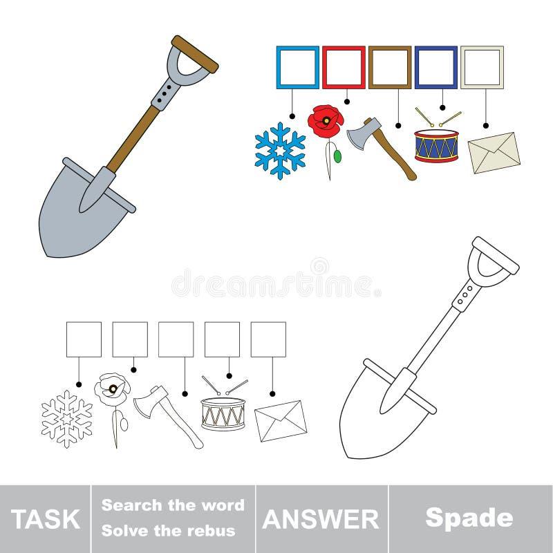 Vectorspel Het woord zoek Vind verborgen woordspade stock illustratie