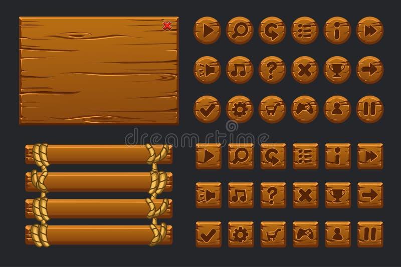 Vectorspel ui grote uitrusting Malplaatje houten menu van graphical user interface GUI en knopen om 2D spelen te bouwen vector illustratie