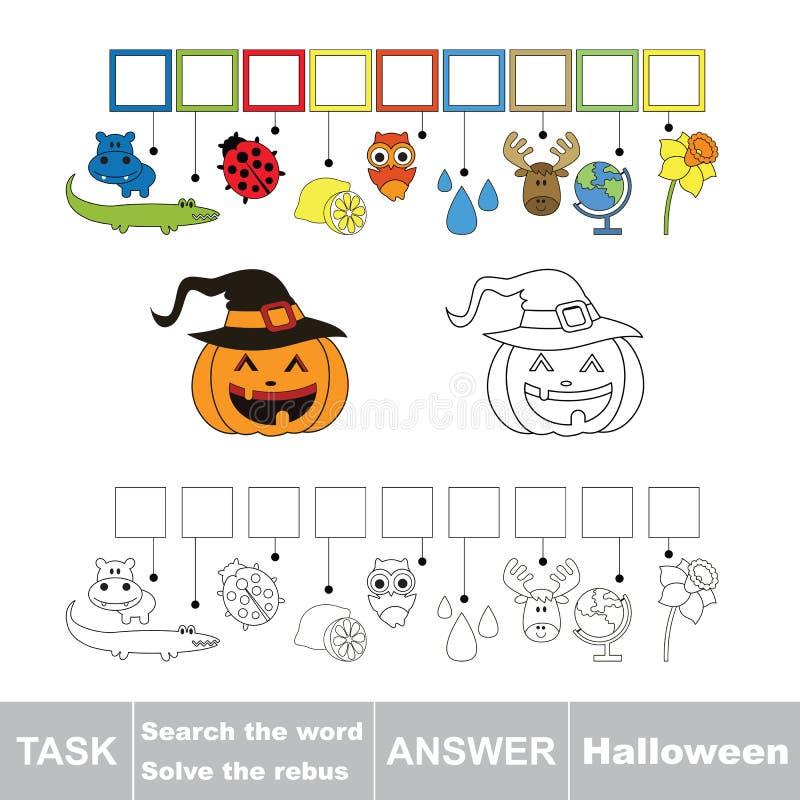 Vectorspel Vind verborgen woord Halloween Het woord zoek vector illustratie