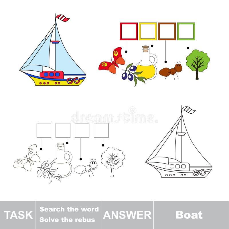 Vectorspel Vind verborgen woordboot Het woord zoek royalty-vrije illustratie
