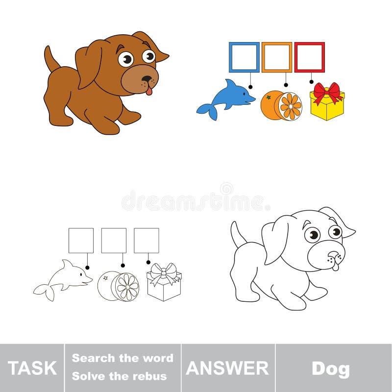 Vectorspel Vind verborgen woordhond Het woord zoek stock illustratie