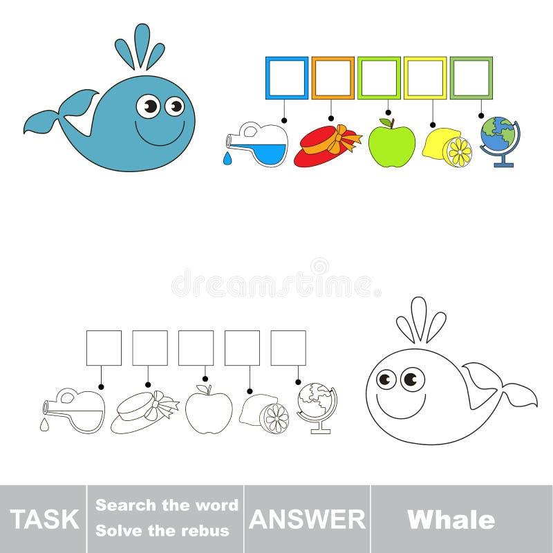 Vectorspel Vind verborgen woordwalvis Het woord zoek vector illustratie