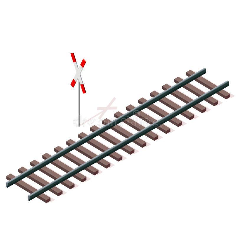 Vectorspoorweg in isometrisch 3d perspectief dat op witte achtergrond wordt geïsoleerd royalty-vrije illustratie