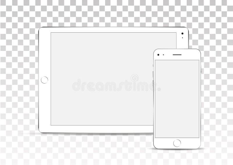 Vectorspot omhoog Reeks lege schermen Witte tablet en telefoon op transparante achtergrond vector illustratie