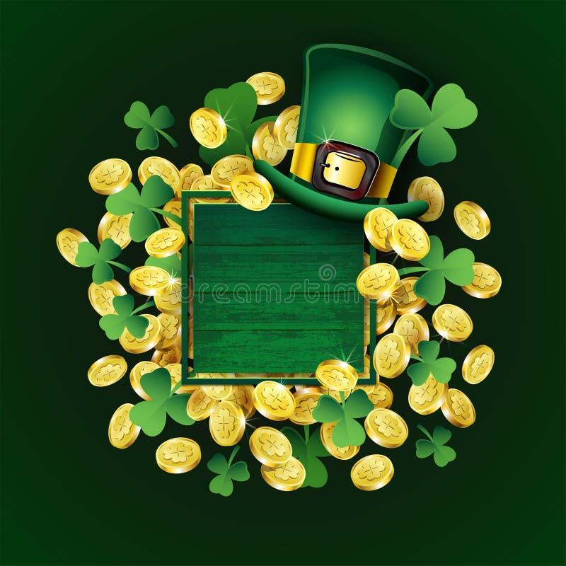 Vectorst Patricks Dagaffiche Ierse ontwerpelementen: Kabouterhoed, klaver, gouden muntstukken, lege tekstplaats op houten kader stock illustratie