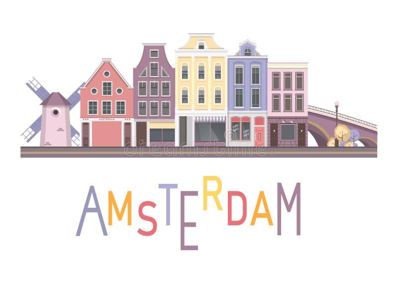 Vectorstad Amsterdam vector illustratie