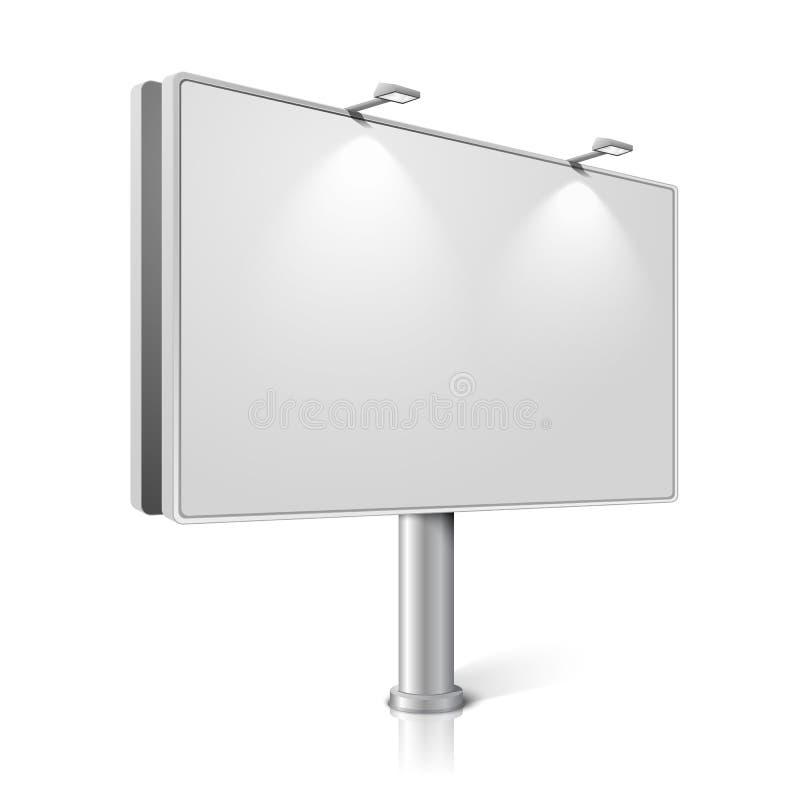 Vectorstadsaanplakbord met geïsoleerde lampen, vector illustratie