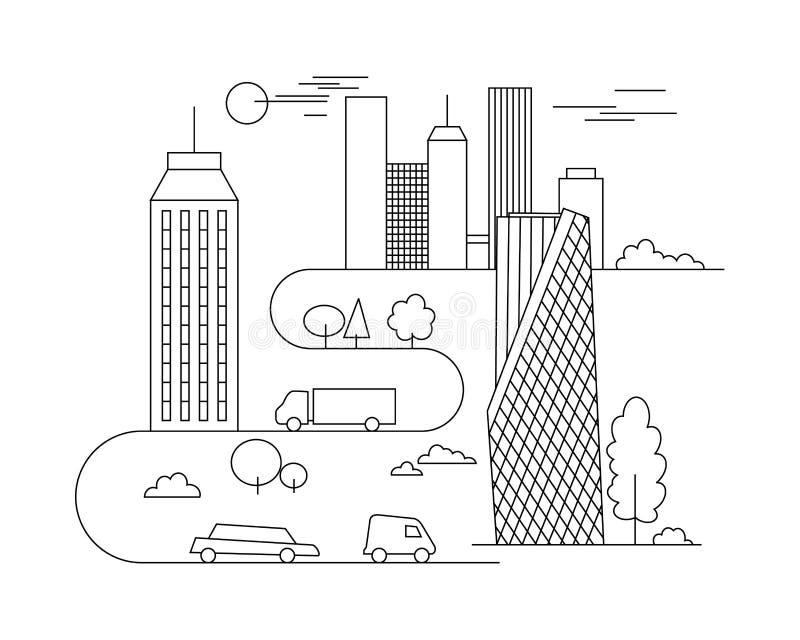 Vectorstadsillustratie in lineaire stijl - gebouwen en wolken - grafisch ontwerpmalplaatje Kleurend boek vector illustratie