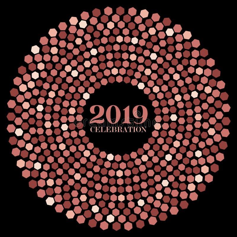 Vectorstijlontwerp van één enkele radiale uitbarsting met zeshoeken van Nieuwjaar 2019 in roze gouden vlakke kleuren stock illustratie