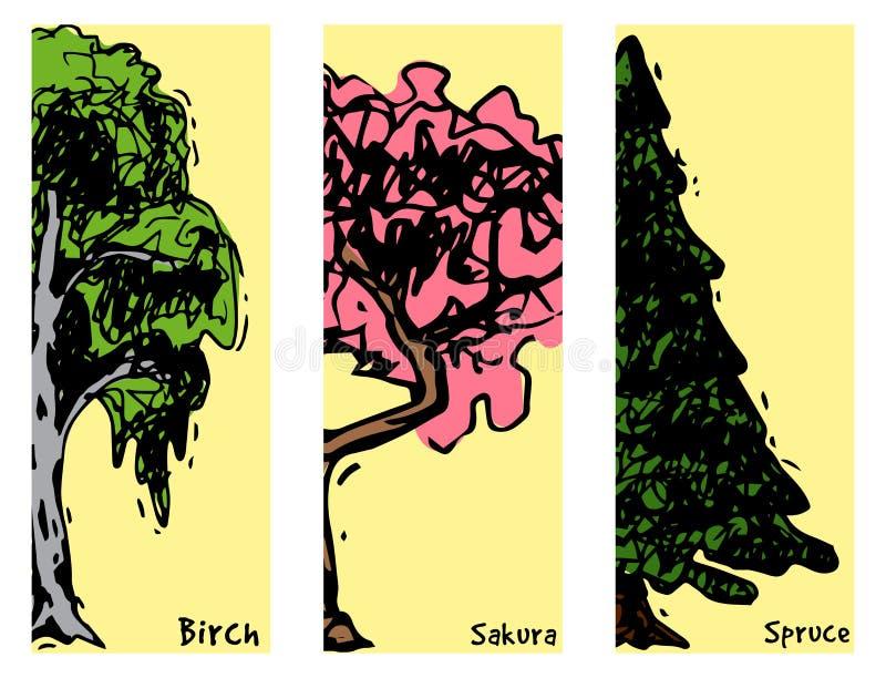 Vectorstijltypes van de boomschets hand getrokken groene bospijnboomtreetops inzameling van berk, ceder en acacia of groen royalty-vrije illustratie