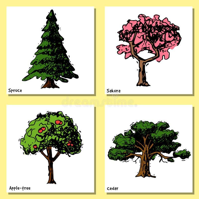 Vectorstijltypes van de boomschets hand getrokken groene bospijnboomtreetops inzameling van berk, ceder en acacia of groen stock illustratie