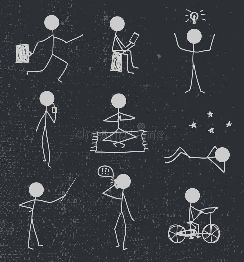 Vectorstokmens, getrokken cijferhand het dagelijkse leven stock illustratie
