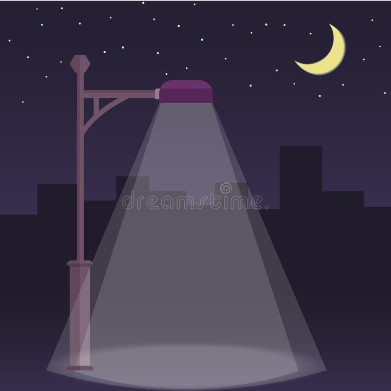 Vectorstraatlantaarn bij Nacht royalty-vrije illustratie