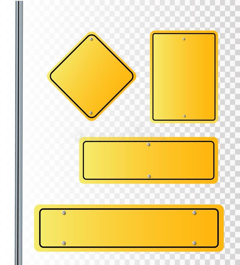 Vectorstraattekens Vectorillustratie van 3 Tekens die van de manierstraat in tegenovergestelde richtingen wijzen royalty-vrije illustratie