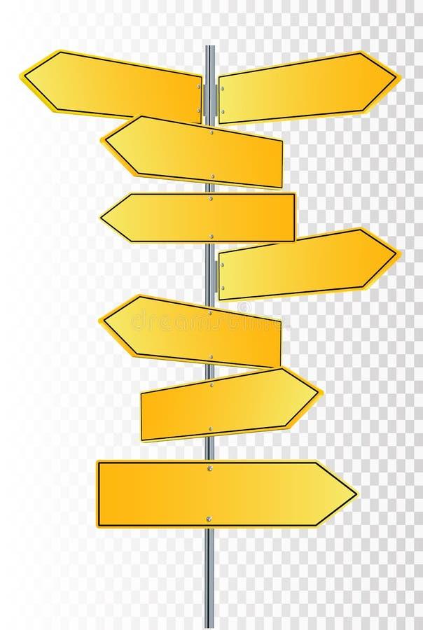 Vectorstraattekens Vectorillustrationof 3 de Tekens die van de manierstraat in tegenovergestelde richtingen wijzen royalty-vrije illustratie