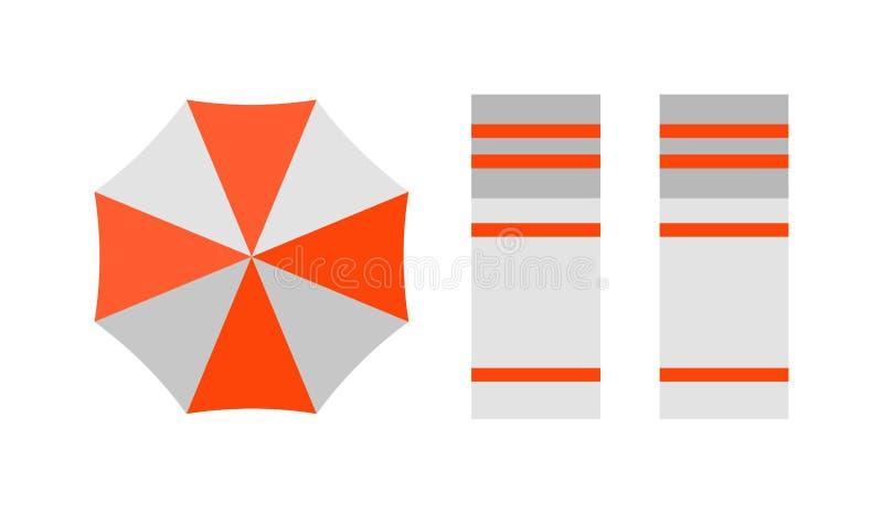 Vectorstrand hoogste mening met ontwerp van de de vakantiereis van paraplu het heldere handdoeken vector illustratie