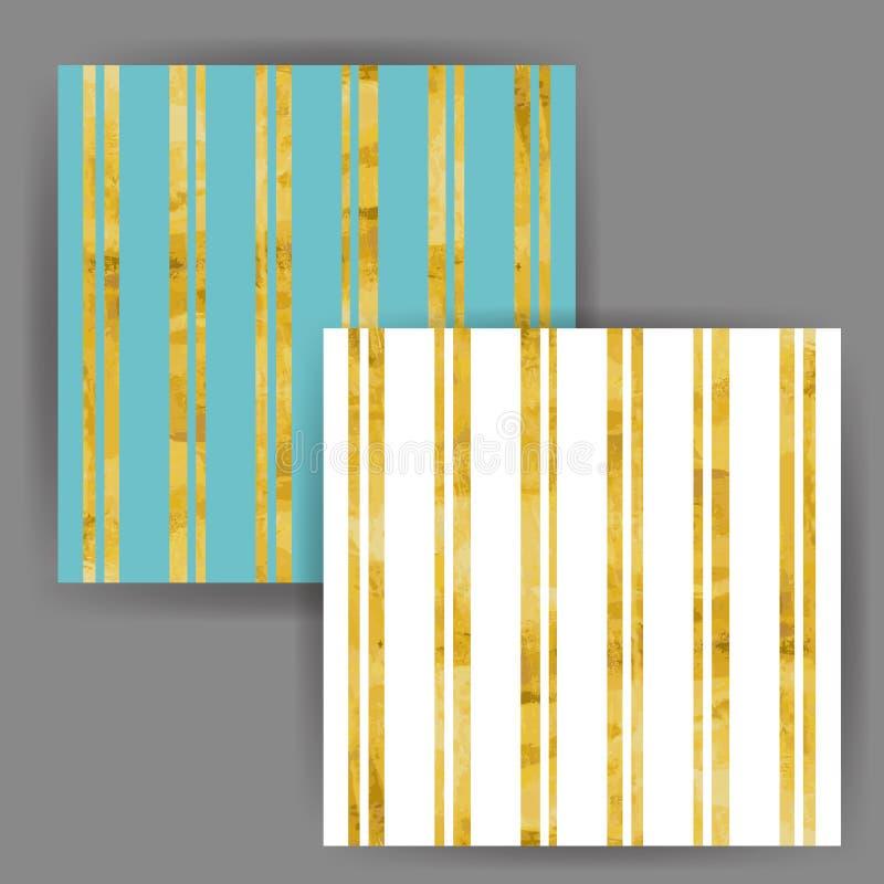 Vectorstreep Naadloos Patroon met het Gouden Effect van de Foliezegel royalty-vrije stock afbeeldingen