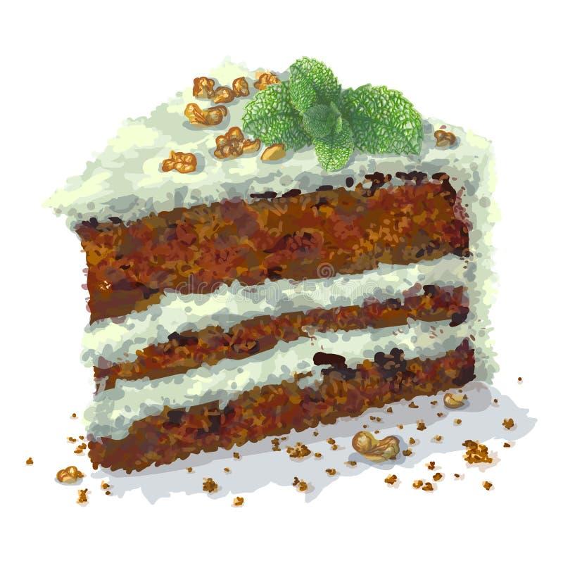 Vectorstuk van pepermintcake met plakken van okkernoten, twijg van munt, gedroogde pruimen, kruimelige tedere cakelagen, die zijn stock illustratie