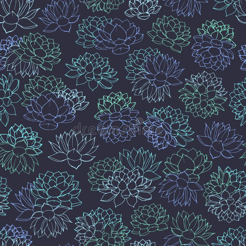 vectorsucculentscontouren van blauw en groen kleuren naadloos patroon op donkere achtergrond Bloemenontwerp met waterlelies vector illustratie
