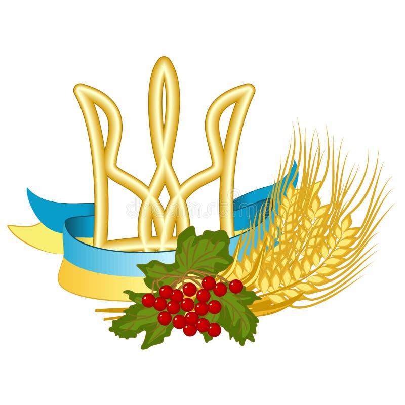 Vectorsymbolen van de Oekraïne: Tryzub Trident is het wapenschild van de Oekraïne, Nationale vlag, Kalyna-viburnum en tarwe kleur stock illustratie