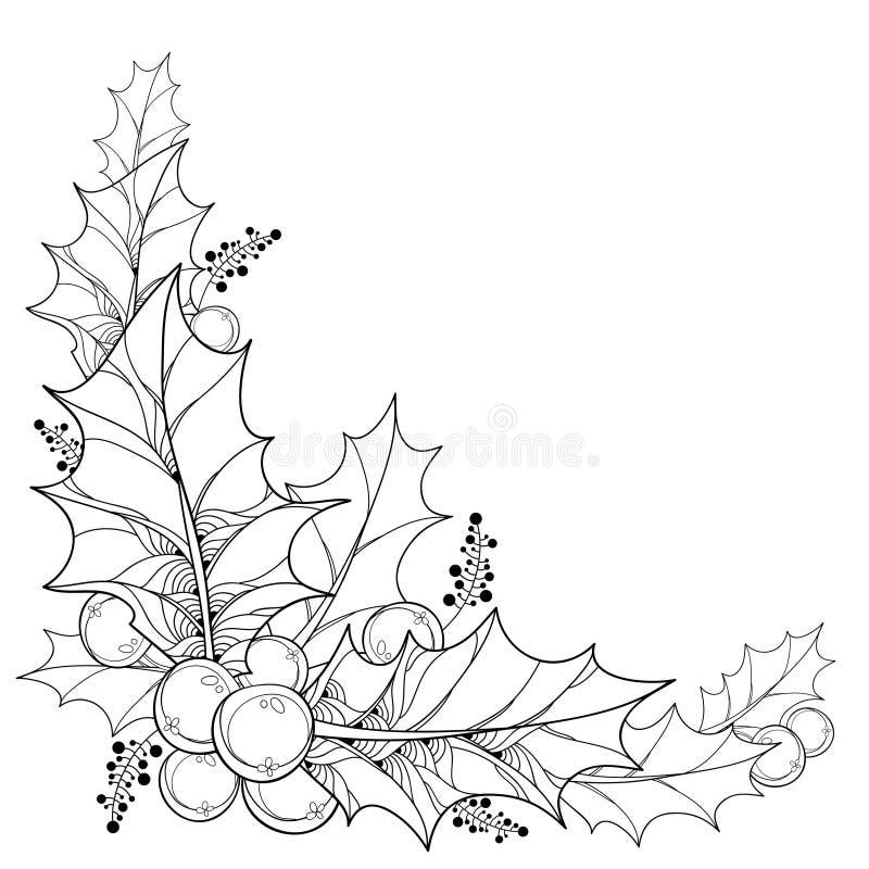 Vectortakje met overzichtsbladeren en bessen van Ilex of Kerstmishulst stock fotografie
