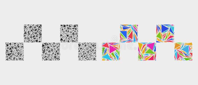Vectortaxischaak Logo Mosaic Icon van Driehoeken vector illustratie