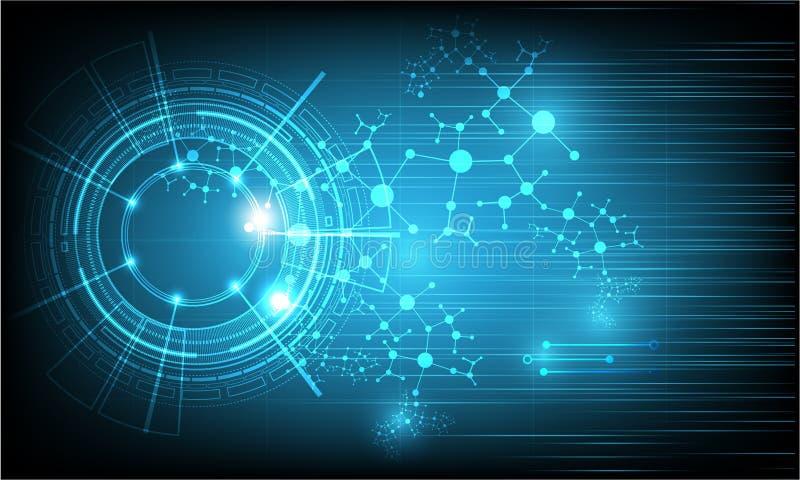 Vectortechnologie en wetenschapstechnologie op kleuren blauwe achtergrond stock illustratie