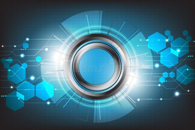 Vectortechnologie met diverse technologisch en wetenschap op blauwe achtergrond royalty-vrije illustratie