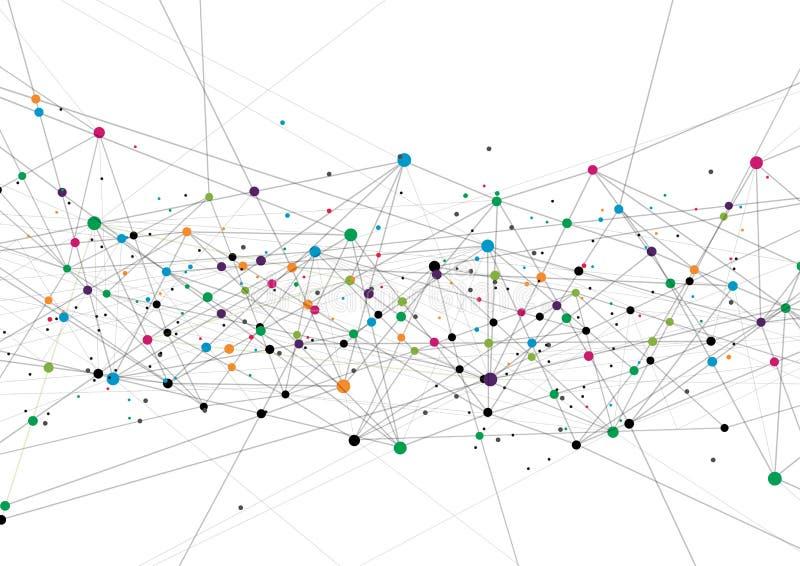 Vectortechnologieconcept Verbonden lijnen en punten Netwerkteken royalty-vrije illustratie