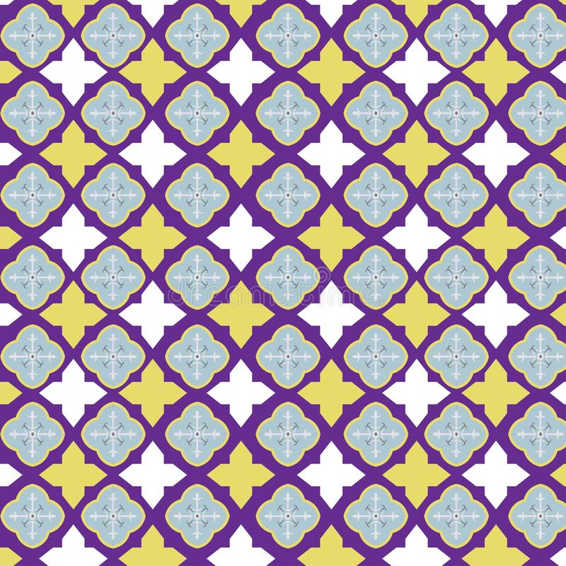 Vectortegelpatroon, het bloemenmozaïek van Lissabon, Mediterraan naadloos marineblauw ornament vector illustratie