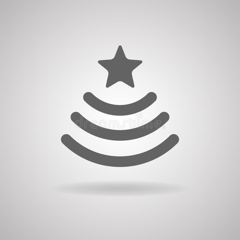 Vectorteken WiFi in de vorm van een Kerstboom met ster Gra stock illustratie