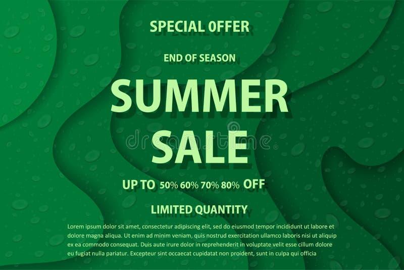 Vectortekening, beeld van heldere reclameaffiche, de zomerverkoop vector illustratie
