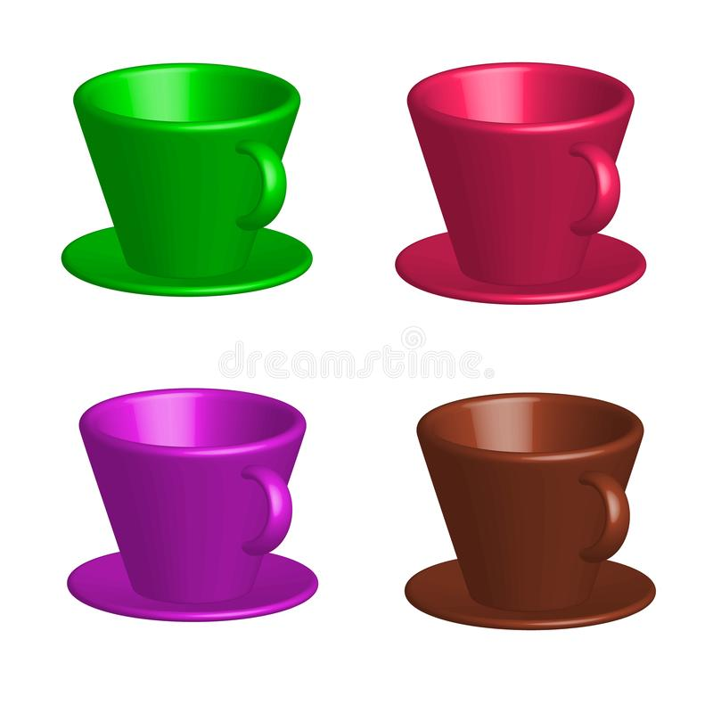 Vectortekening, reeks van gekleurd van helder van kleurrijke koffiekoppen met schotels op witte achtergrond stock illustratie