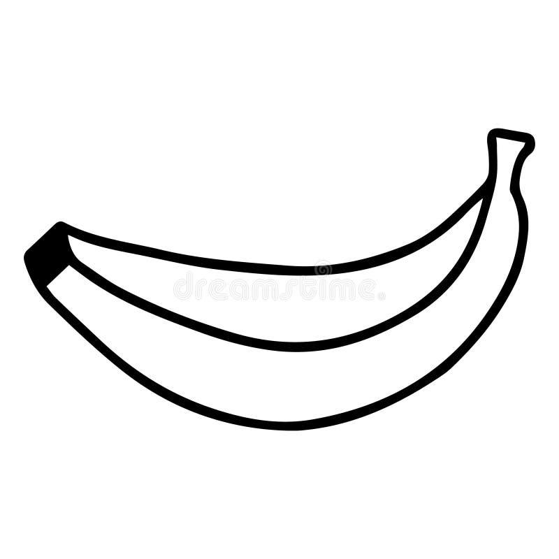 Vectortekening van bananen Doodles Handtekening Eén op een witte achtergrond geïsoleerde banaan Exotische vruchten Zwart-wit beel stock illustratie