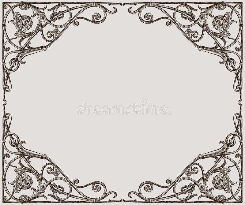 Vectortekening van een decoratief kader in Jugendstilstijl stock illustratie