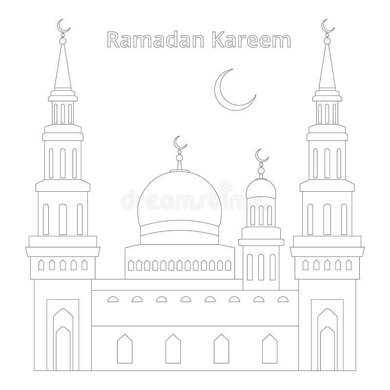 Vectortekening van een dunne lijn in één pixel van de gebouwen van de moskee, de maand op het en de inschrijving Ramadan Kareem,  vector illustratie