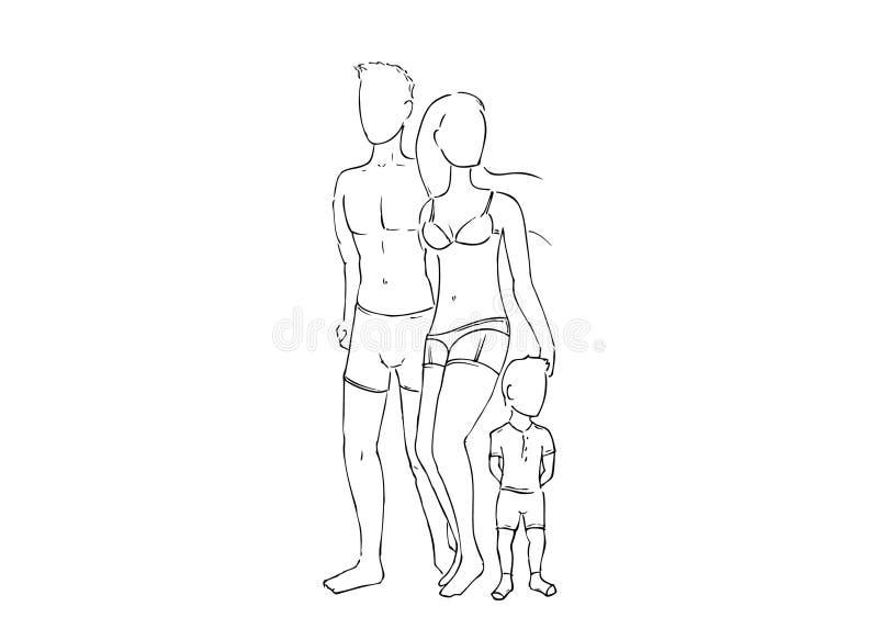 Vectortekening van een familie gekleed in ondergoed stock illustratie
