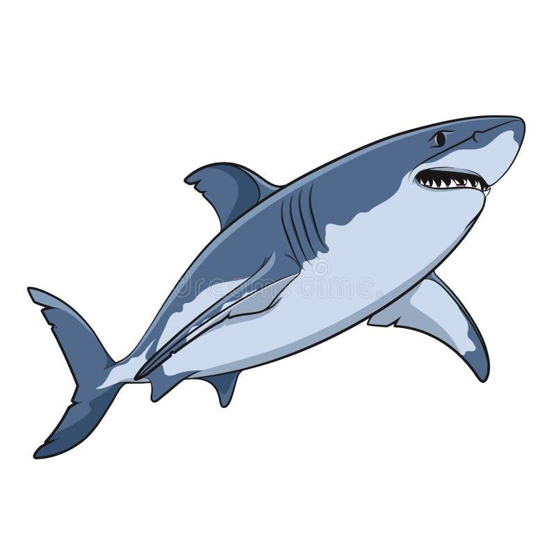 Vectortekening van een grote witte haai stock illustratie