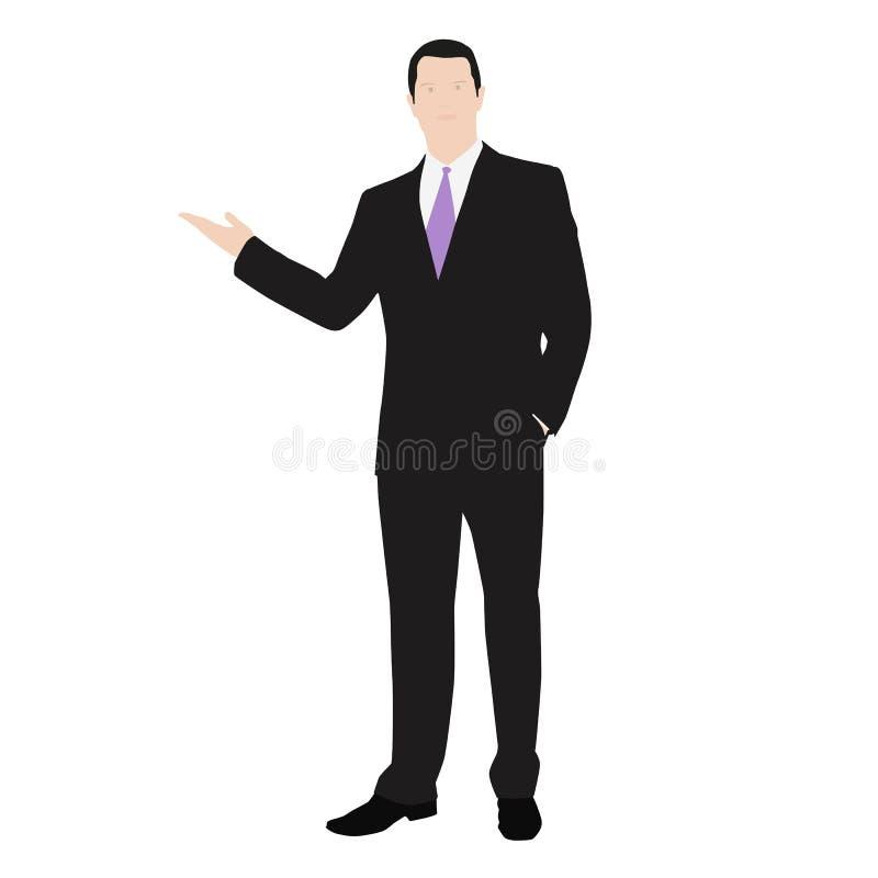 Vectortekening van een succesvolle mens gekleed in een kostuum royalty-vrije illustratie