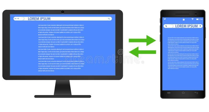 Vectortekening van het realistisch van de beeld zwart smartphone en computer scherm op witte achtergrond met de schermen voor royalty-vrije illustratie