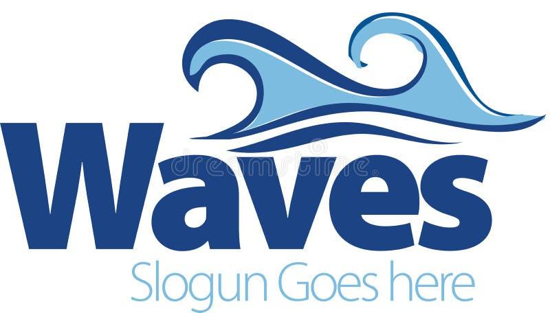 Vectortekening van overzeese golven Golfsymbool Embleemmalplaatje royalty-vrije stock afbeelding