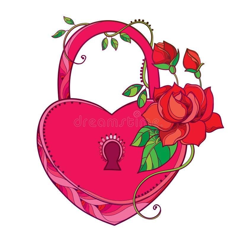 Vectortekening van slothart in roze met overladen rozen en groen die blad op witte achtergrond worden geïsoleerd stock illustratie