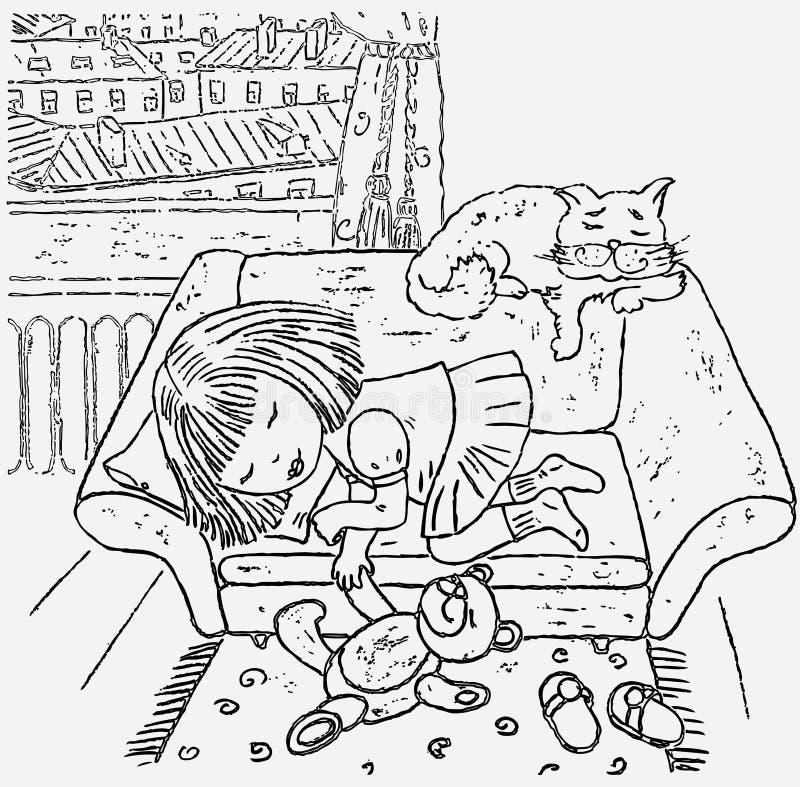 Vectortekening van wat meisjesslaap in haar ruimte vector illustratie