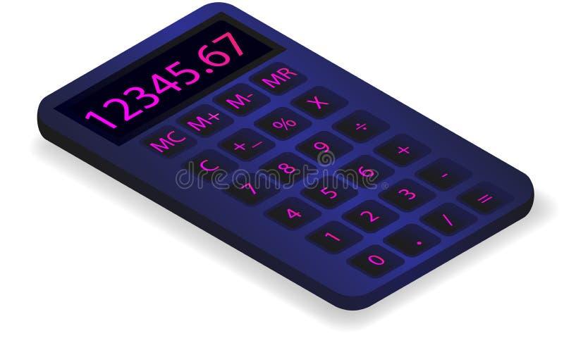 Vectortekenings zwarte calculator op een witte achtergrond stock illustratie