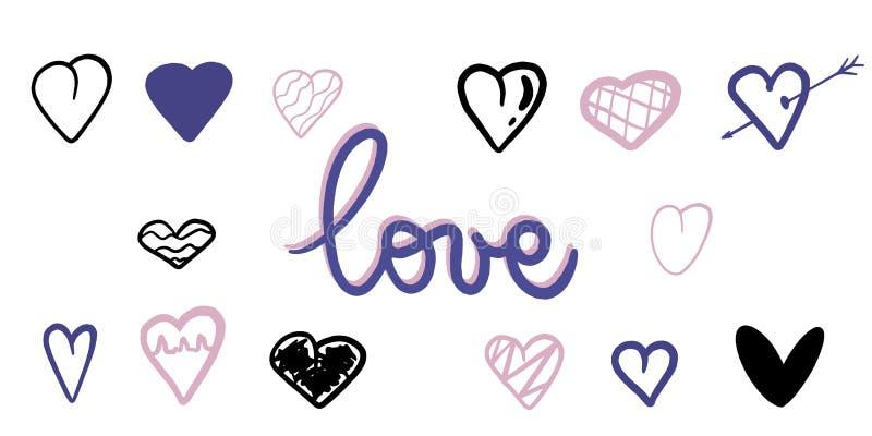 Vectortekeningsreeks harten met de woordliefde Perfectioneer voor prentbriefkaar, affiche, patronen en decoratie Moderne stijl Zo royalty-vrije illustratie