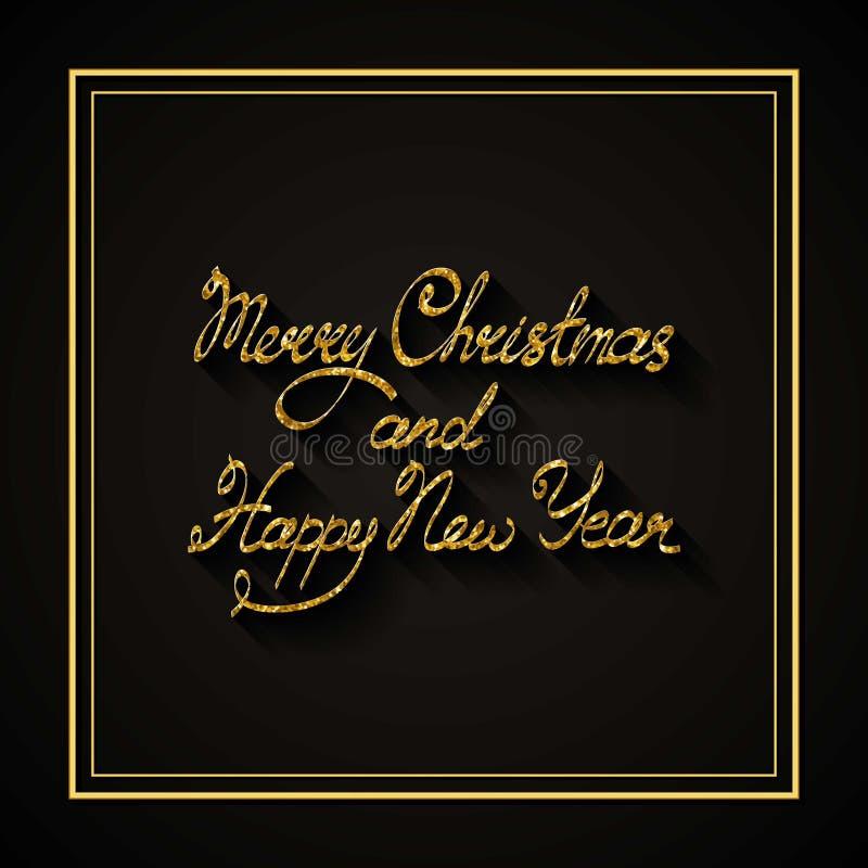 Vectortekst op zwarte achtergrond Wij wensen u Vrolijke Kerstmis en het Gelukkige Nieuwjaar van letters voorzien voor uitnodiging stock illustratie