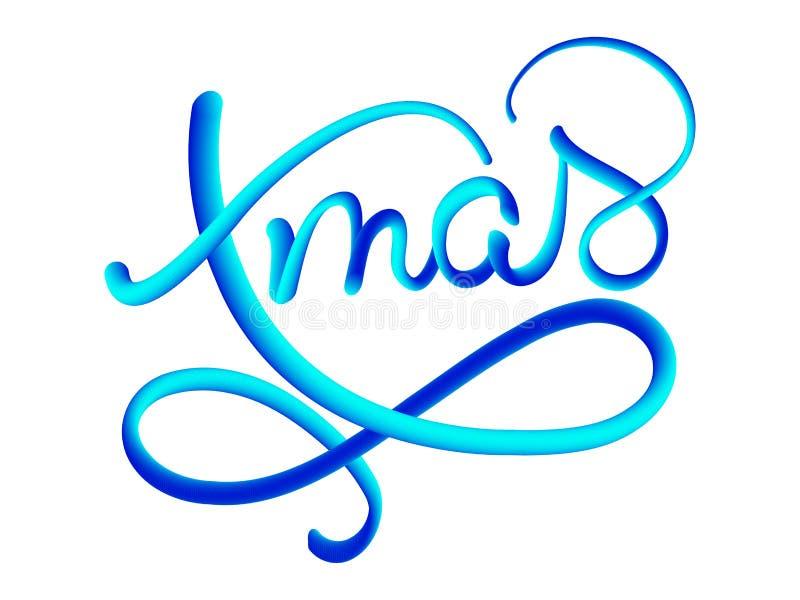 Vectortekst van de Kerstmis de blauwe gradiënt op donkere bruine achtergrond De kaartmalplaatje van het Kerstmis Kalligrafisch Va stock illustratie